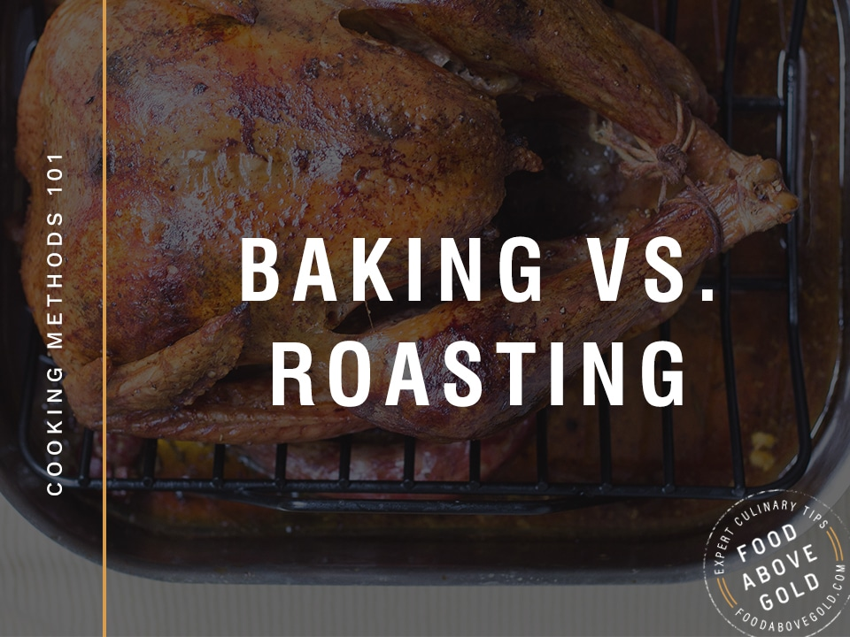 "a chicken on a roasting pan with text saying ""baking vs. roasting"""