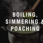 "pot of cooking peas with thext ""boiling, simmering, & poaching"""