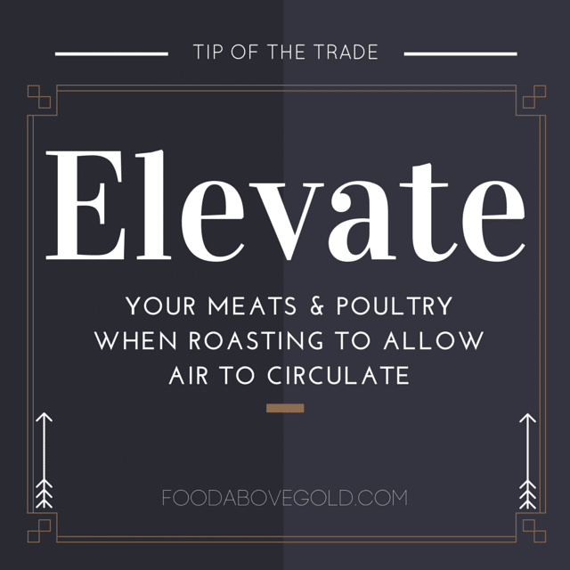 Infographic reminding you to elevate your meats when roasting