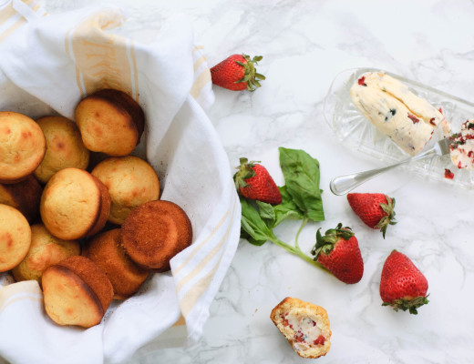 Click the recipe card below to open the instructions for making a compound butter.  For this recipe we are going to use 1/2 cup of fresh strawberries (cut small) and 1 tablespoon of minced fresh basil as our mix-ins.
