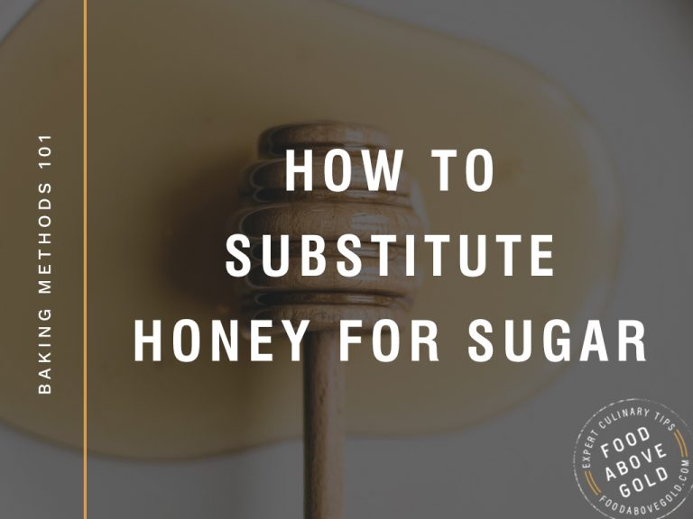 "black overlay with text ""how to substitute honey for sugar"""