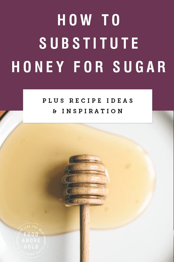 "Purple background with text ""how to substitute honey for sugar"" above photo of spilled honey"