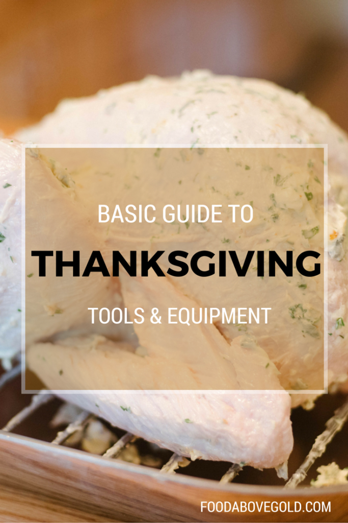 A raw uncooked turkey rubbed with butter with a brown overlay saying 'basic guide to thanksgiving tools and equipment.""
