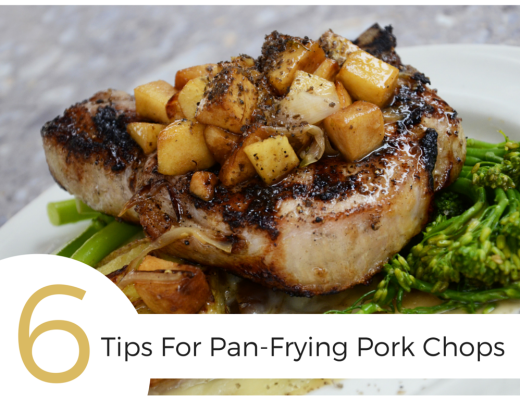 Learn the 6 best tips for pan-frying pork chops!  Everything from how to prevent popping & splattering, to when to season, to how to keep it moist and juicy!