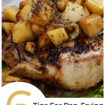 A pan fried pork chop with chopped apples on top.