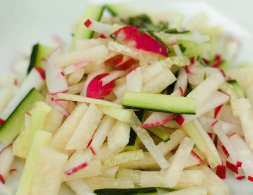 This light and refreshing radish, cucumber, & jicama salad with basil-mint vinaigrette is delightfully crunchy and slightly sweet. Perfect for a cookout!