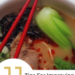 "A bowl of pho with text overlay saying ""11 tips to improve your stock."""