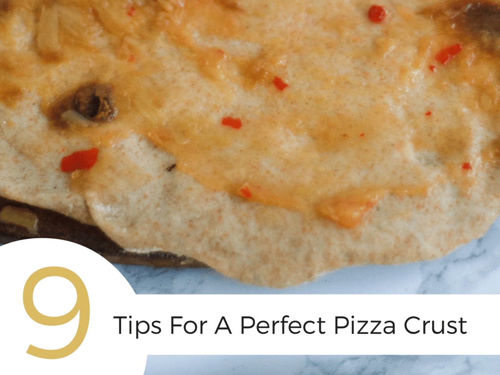 Get these 9 tips for making a perfect pizza crust! It covers everything from type of flour, to cooking on a pizza stone, to how hot your oven should be.