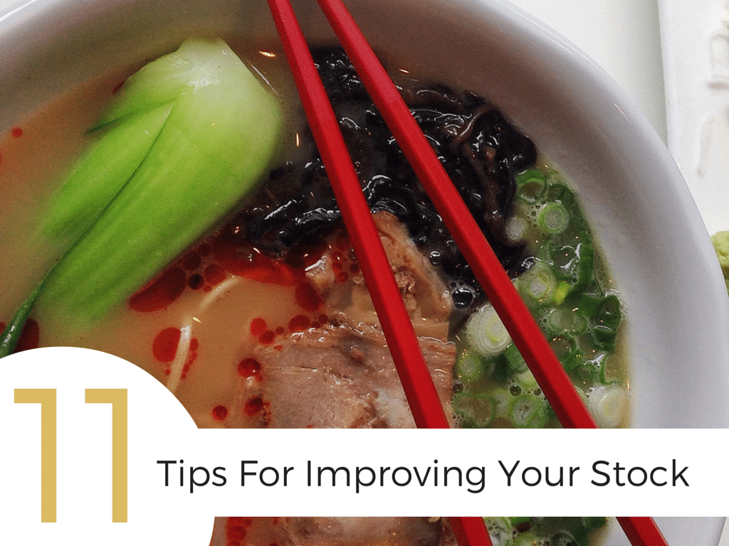 Get my #1 trick for making a perfect stock as well as 10 tips for how to improve your stock to get better flavor, texture, color, or visual appeal.