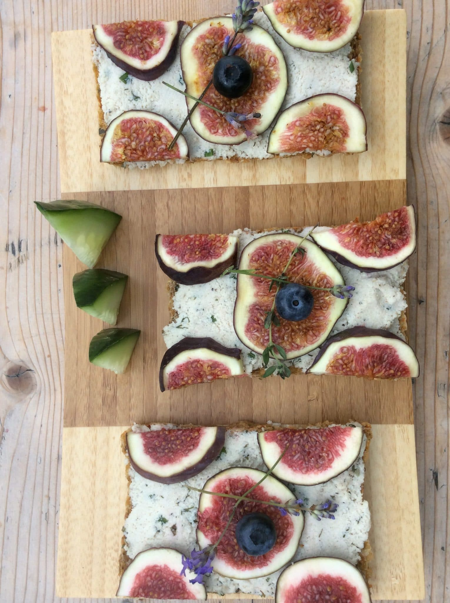 Fresh figs and lavender on a tart.