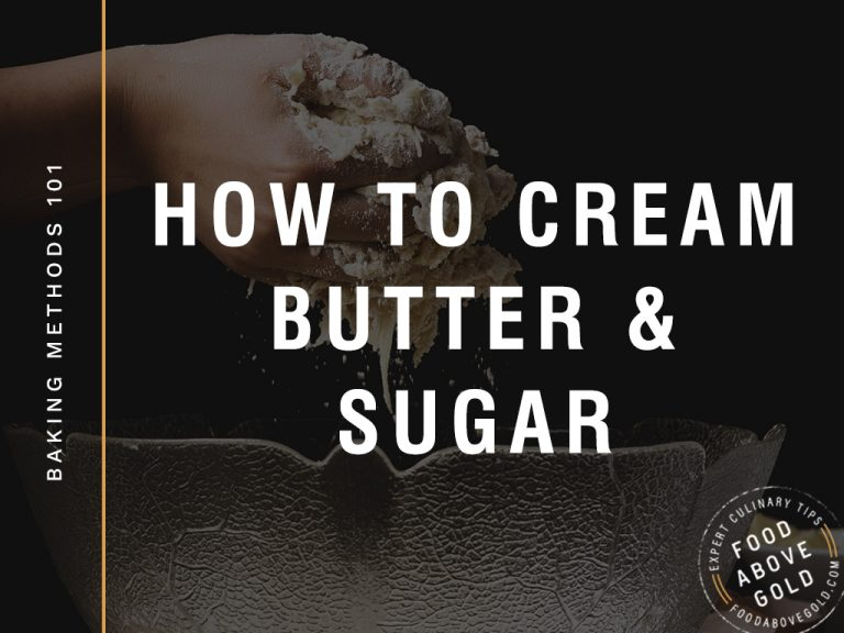 "Title text ""How to cream butter and sugar"" on black overlay"