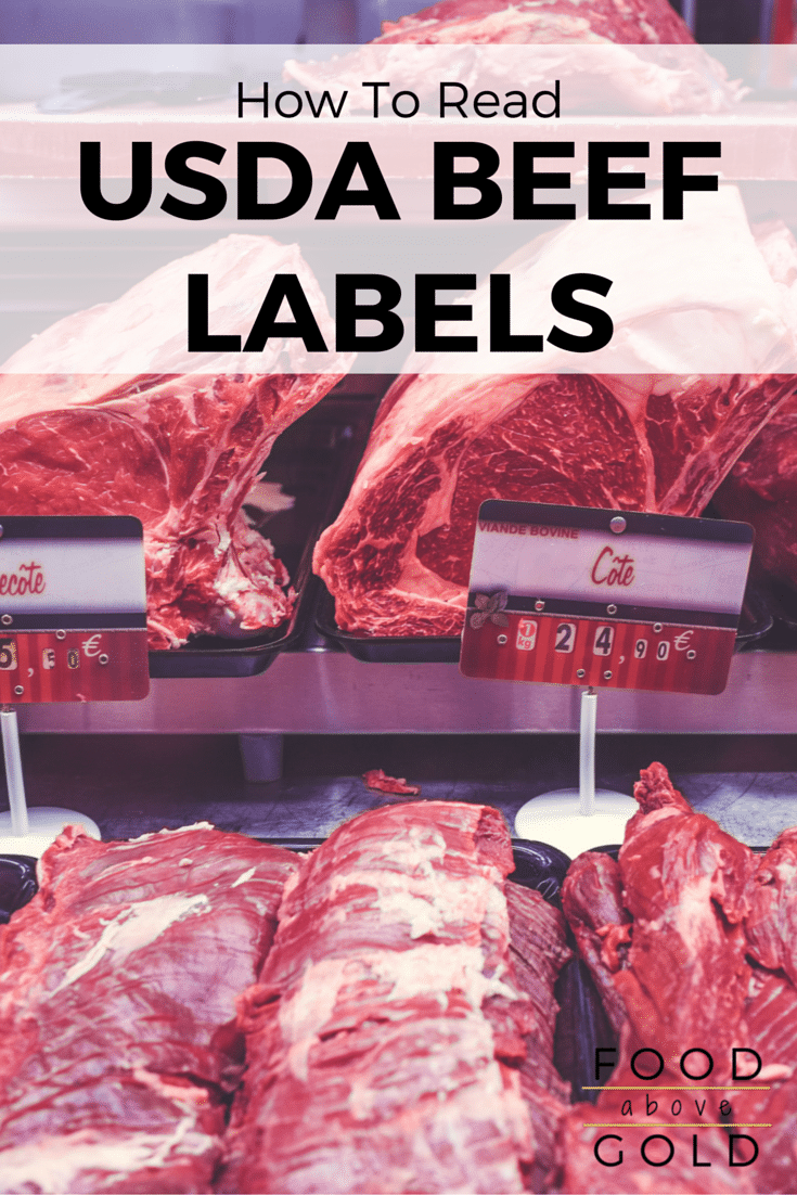 "Different cuts of meat on trays at the butcher with text saying ""how to understand USDA beef labels."