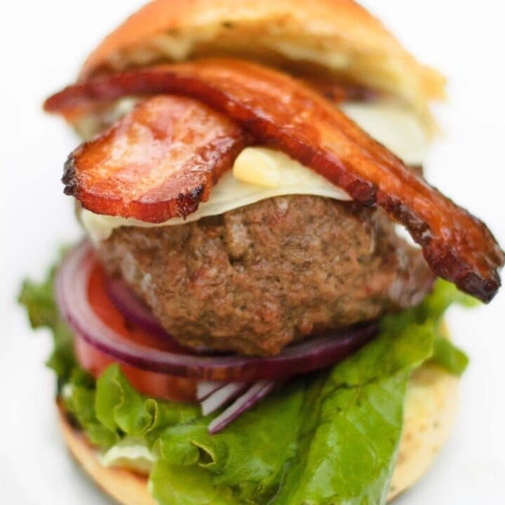 close up view of the thick cut bacon on the wasabi burger