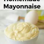 Learn how to make homemade mayonnaise in two minutes, using only 4 ingredients! Plus, tips on what to do if it separates or is too thin.
