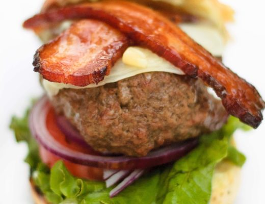 This sweet and spicy wasabi burger is filled with surprising flavors that make it otherworldly, including teriyaki glazed bacon and pickled ginger.