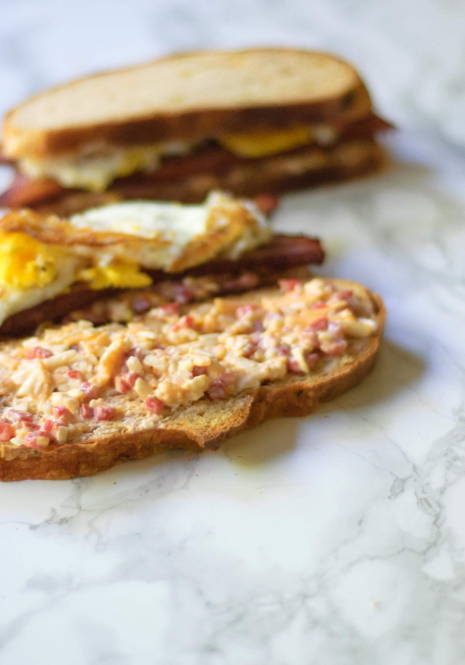 Pimento Cheese Bacon And Fried Egg Sandwiches Food