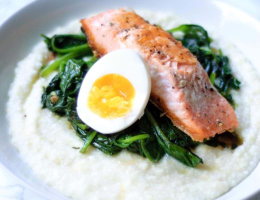 Salmon & Grits with Garlicky Greens & Boiled Eggs
