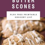 Brown butter glaze dripping off scones. Recipe title above it is on a purple background.