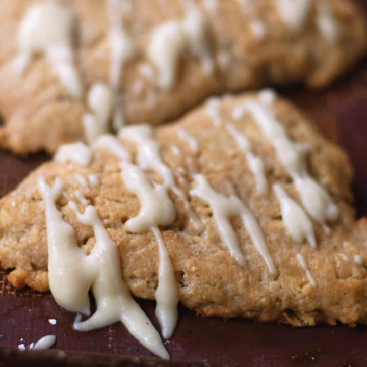 close up of brown butter scones with brown butter glaze