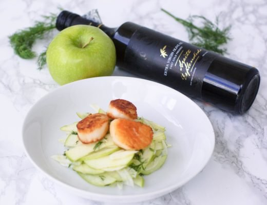 Enter this olive oil giveaway and make this 30 minute Green Apple, Fennel, & Colossal Sea Scallops Salad recipe. It's a great appetizer or entrée!