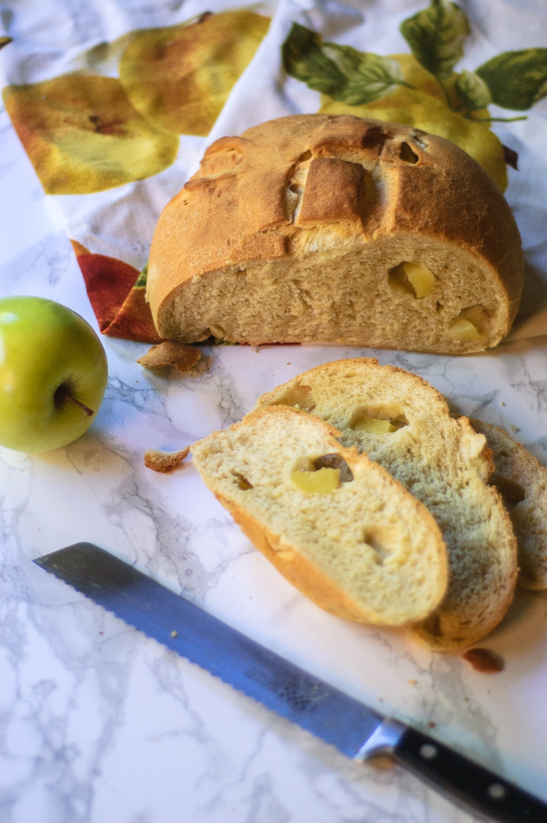 This Apple Olive Oil Boulé is a perfect bread for making epic Thanksgiving leftover turkey sandwiches, autumn french toast, or passing around the table!