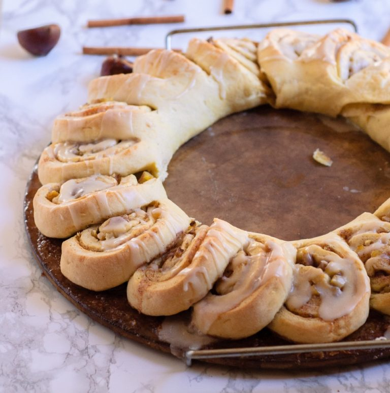chestnut roll wreath on a baking stone