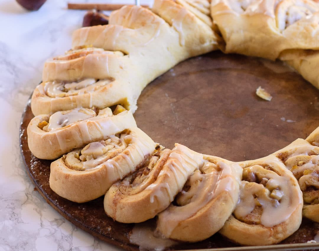 This festive & fun chestnut roll wreath is perfect for Christmas morning! This holiday treat will be a new family favorite and a great breakfast tradition!