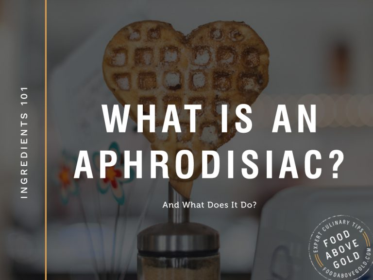 "A heart shaped waffle with black overlay and text reading ""What is an aphrodisiac?"""
