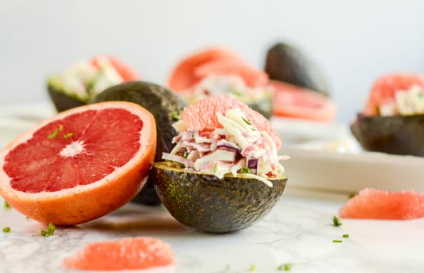 This Crab and Grapefruit Stuffed Avocado is delightfully refreshing and filling. Eat it as a low-carb breakfast, fast lunch, appetizer, or salad at a cookout. It's extremely versatile!