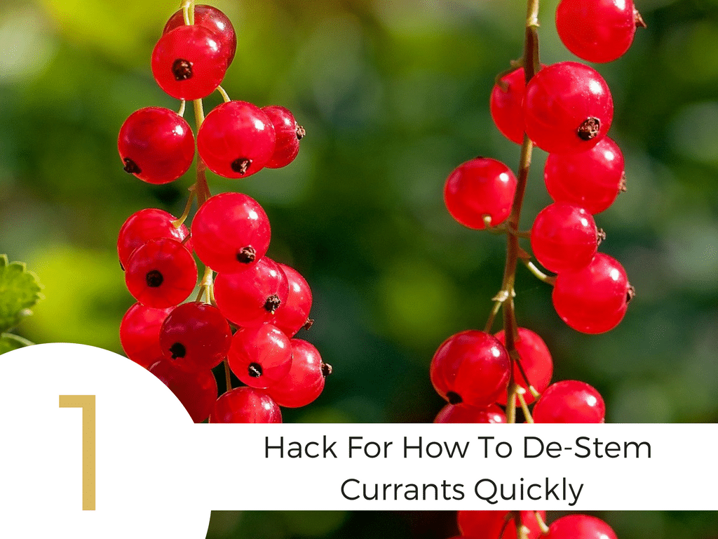 """Two strings of red currants and """"1 hack for how to de-stem currants quickly"""" text"""