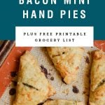 Mini hand pies on a baking sheet. Recipe title above it is on a blue background.