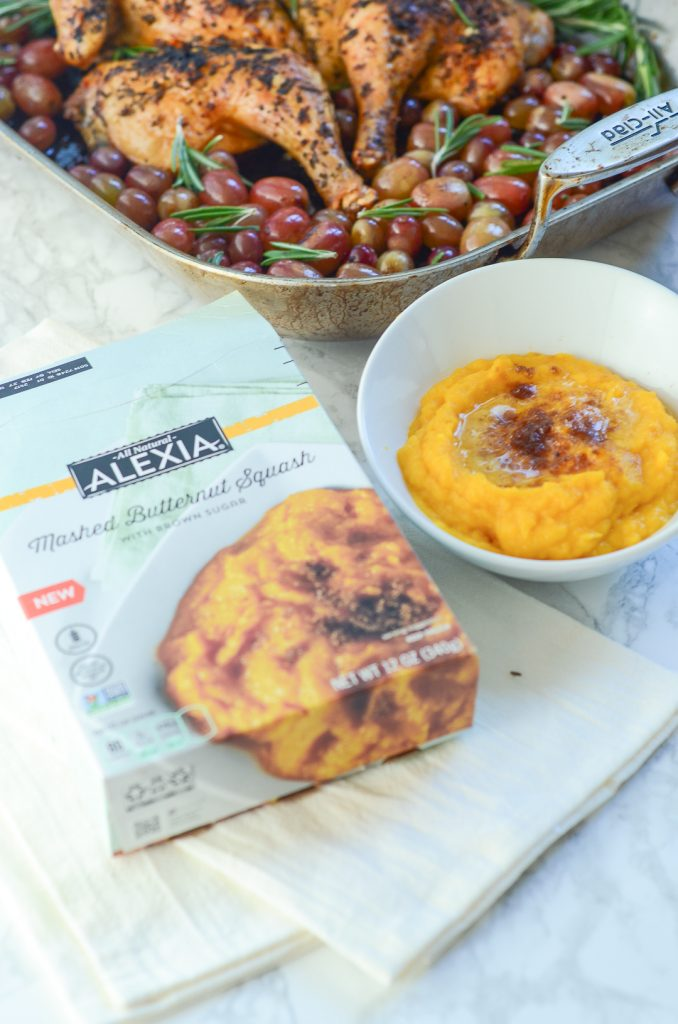 A box of alexia frozen butternut squash next to a bowl of it