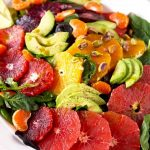Close up of citrus salad with avocado
