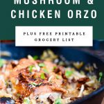 A cast iron pan of mushroom orzo with pan fried chicken thighs. Recipe title above it is on a green background.
