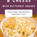 A white bowl of creamy mac and cheese with butternut squash. Recipe title above it is on a purple background.