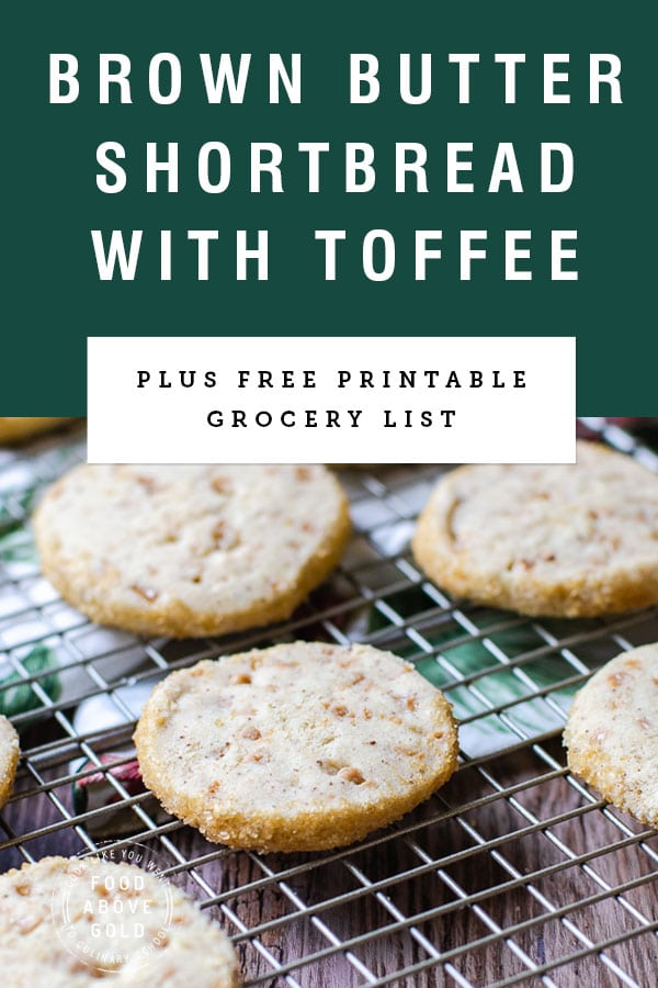 "long image of shortbread cookies on cooling rack with title ""Brown butter shortbread with toffee"" on a green background"