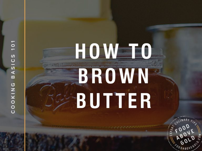 "black overlay over a picture of brown butter in a mason jar. Title text of ""How to brown butter"""