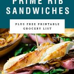 Three prime rib sandwiches on baguettes. Recipe title above it is on a blue background.