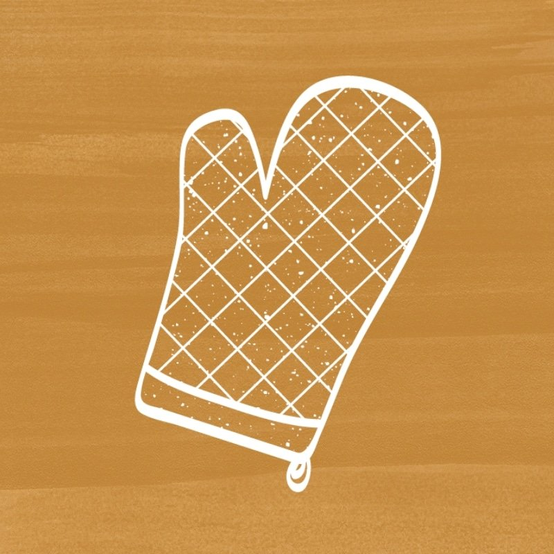 mustard yellow background with white icon of an oven mitt