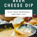 "Title text ""smoky beer cheese dip"" over a picture of bread being dipped into dip"