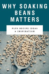 "Title text ""Why soaking beans matters"" above an image of a silver scoop filled with dried beans"