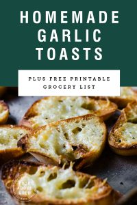 "close up of homemade garlic toast with text above it saying ""homemade garlic toasts"""