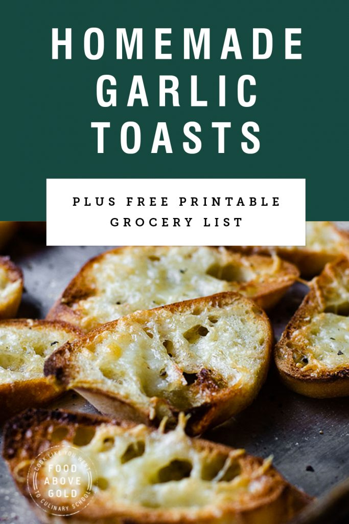 """close up of homemade garlic toast with text above it saying """"homemade garlic toasts"""""""
