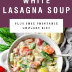 A bowl of white lasagna soup. Recipe title is above it on a purple background.