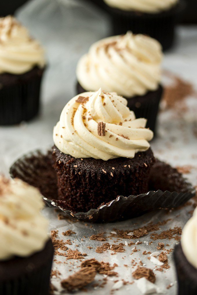 closeup of chocolate mint cupcakes in a peeled wrapper