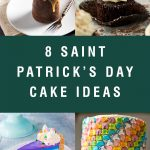 "Four different cake examples with title text ""8 St. Patrick's Day cake ideas"""