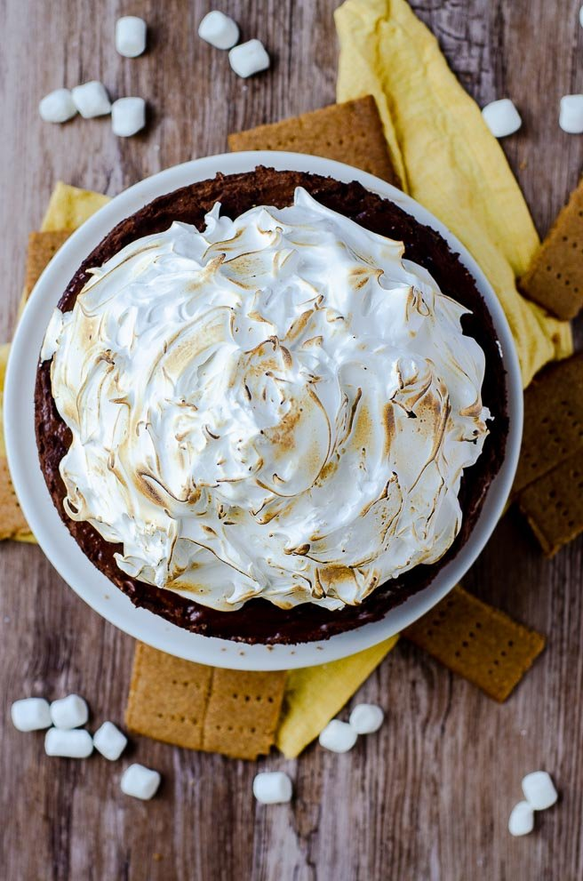 overhead view of the toasted marshmallow topping on a s'mores pie recipe