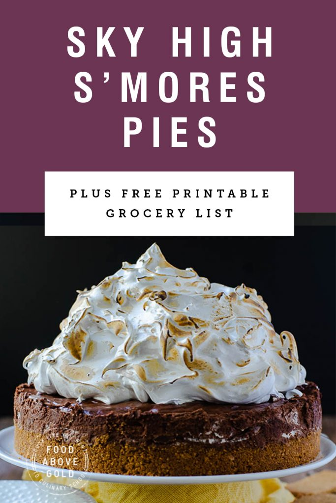 """Picture of a s'mores pie with title text """"sky high s'mores pie"""""""