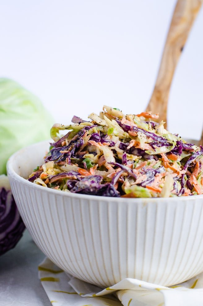 white bowl of homemade coleslaw