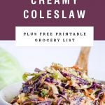 A white bowl overflowing with creamy coleslaw under recipe title on a purple background.